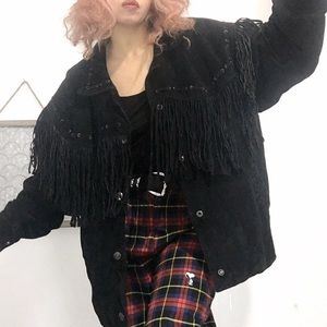 Vintage fringe suede leather jacket